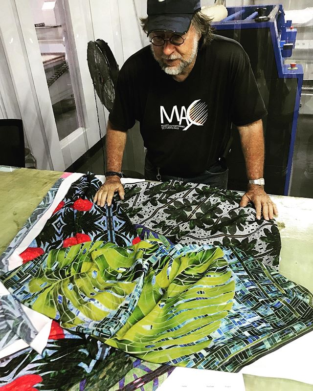 We are so #proud to #work with #artists like @eddieferraioli to bring their #creative #ideas to #life.  Mr. Ferraioli is a master of #stainedglass and #mosaic #design that is trying to turn his #art into #fashion #apparel made in #PuertoRico. Our team helped design his prints, they were printed locally and we are manufacturing the apparel at our Moda Lab . . . . Estamos muy orgullosos de trabajar con artistas como Eddie Ferraioli para hacer realidad sus ideas creativas. El Sr. Ferraioli es un maestro en #diseño de #vitrales y #mosaicos que está tratando de convertir su #arte en #ropa de #moda hecha en Puerto Rico. Nuestro equipo ayudó a diseñar su arte para la ropa, se imprimió localmente y estaremos fabricando las piezas en nuestro Moda Lab.