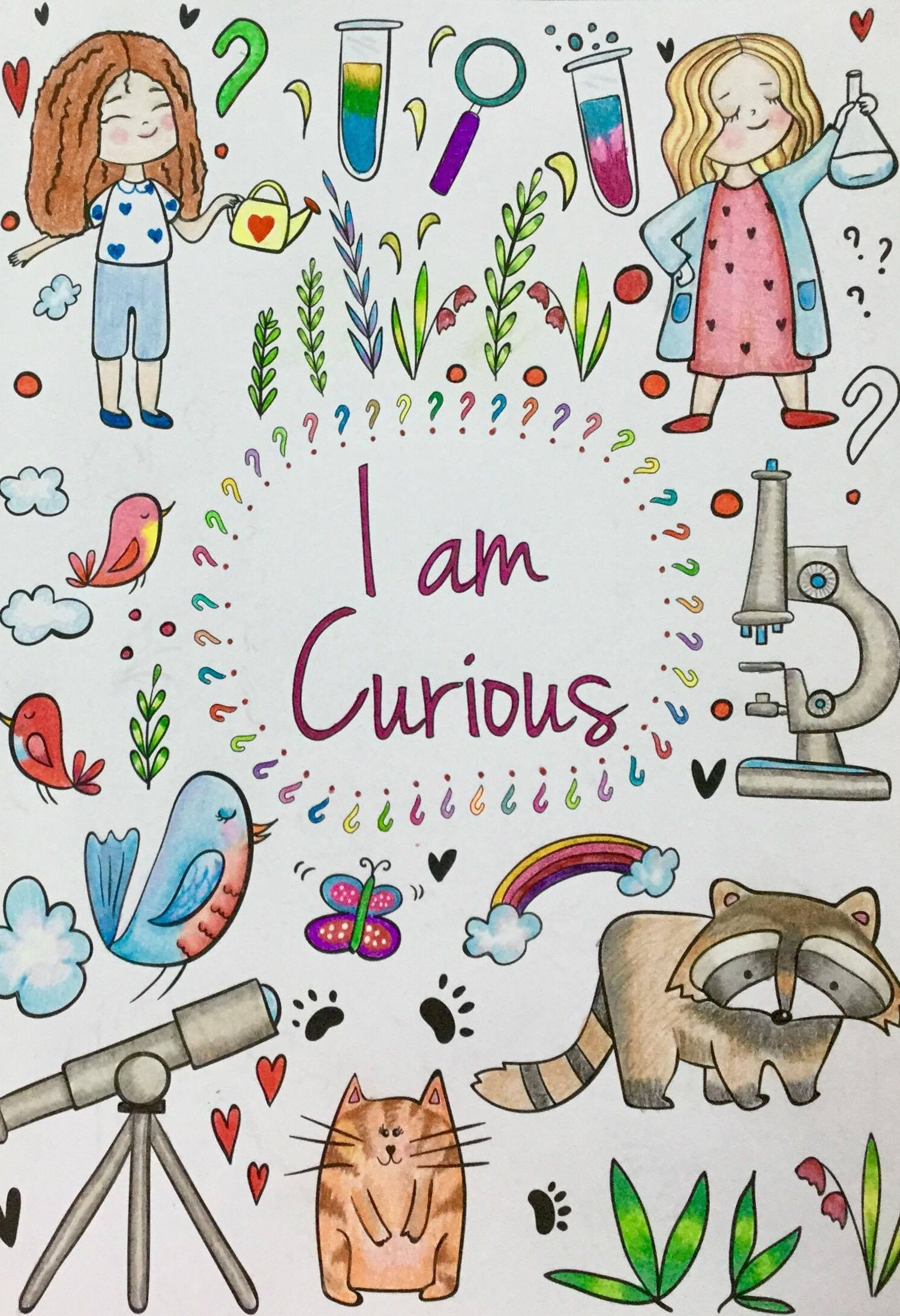 """This is the """"curious"""" mantra page colored in. :-)"""