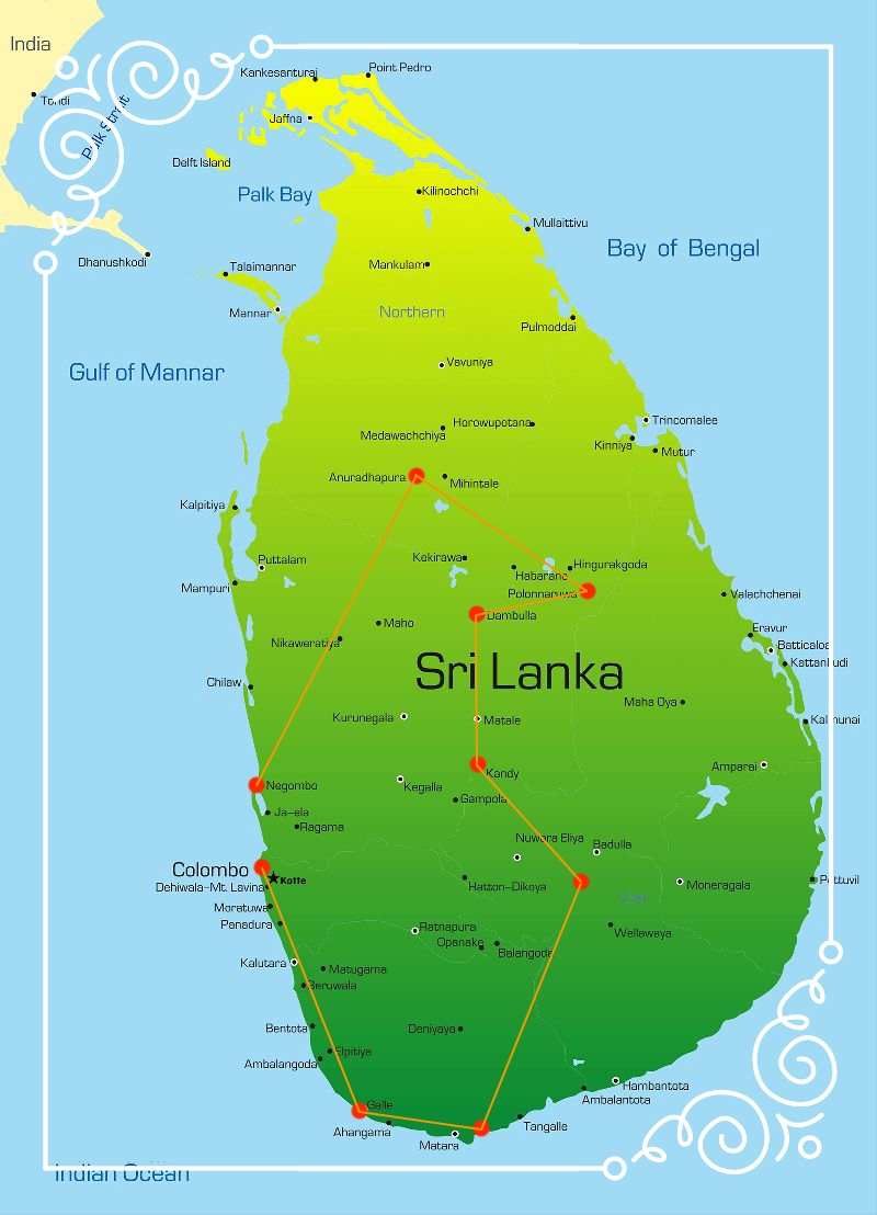 The Circle Tour - Duration: 15 DaysDeparture: NegomboA jewel in the Indian Ocean, Sri Lanka is jam-packed with ancient sites, fascinating culture, beautiful wilderness and idyllic beaches. From ancient Anuradhapura city and the well-preserved Polonnaruwa ruins, to the Temple of the Sacred Tooth Relic and the impressive Sigiriya rock fortress, Sri Lankan culture spans more than 2,000 years and still remains vibrant and alive today. Trek through lush tea plantations, indulge in seafood feasts in quaint fishing villages and dip your toes in the calm, clear waters of Mirissa beach on this all-encompassing adventure for those seeking a unique travel experience.