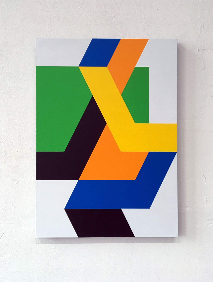Colored bands in open fields 1    50 x 70 x 3,5 cm Acrylic on canvas 2018     ropp schouten