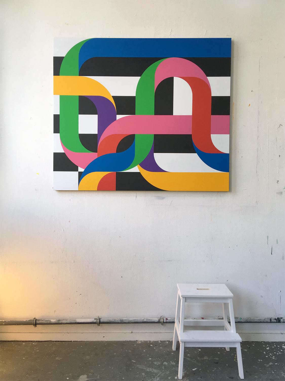 'CROSSINGS 7' 140 x 120 x 4.5 cm Acrylic on canvas 2018