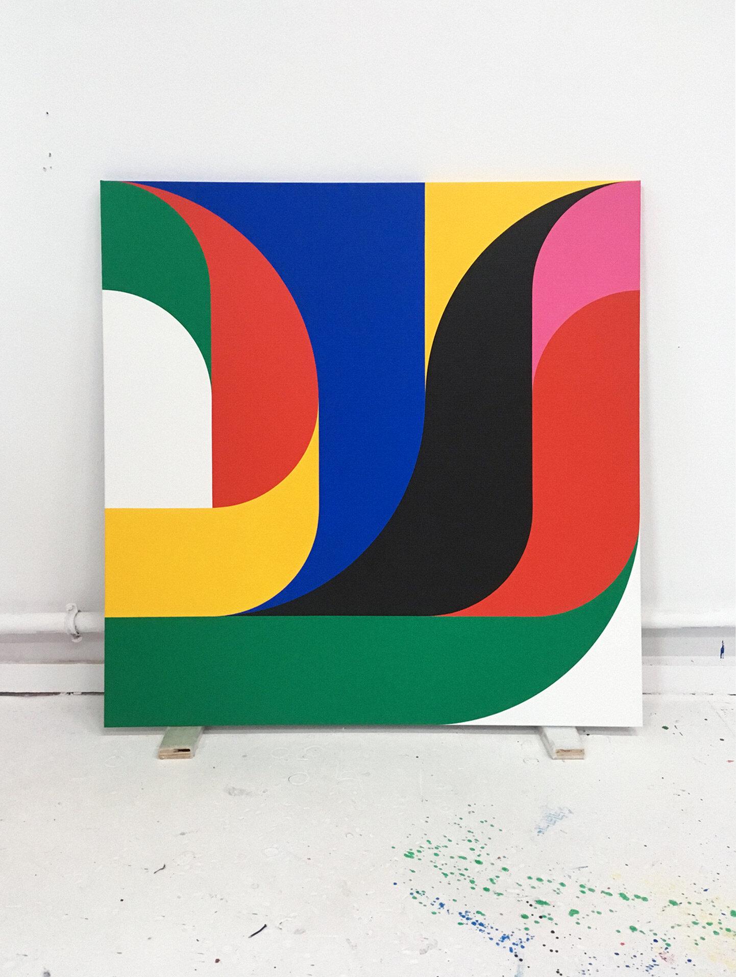 Crossings 2111 A   100 x 100 cm Acrylic on canvas 2019