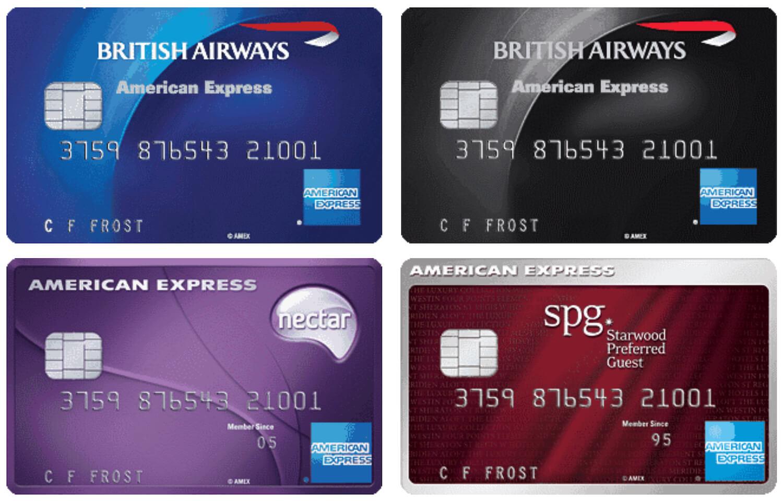 American Express UK - BA, BA Premium, Nectar, SPG Cards