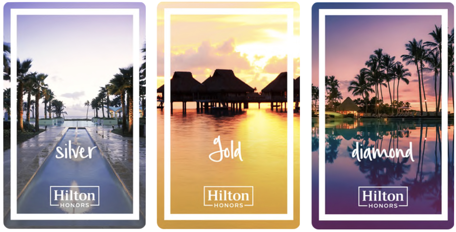 Hilton Honors Tier Status Level - Silver, Gold, Diamond - Cards
