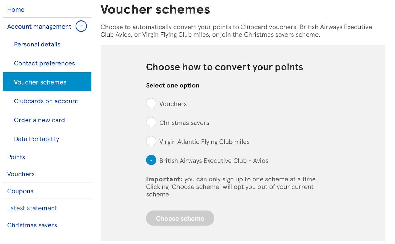 Tesco Clubcard - Voucher Schemes - British Airways Executive Club