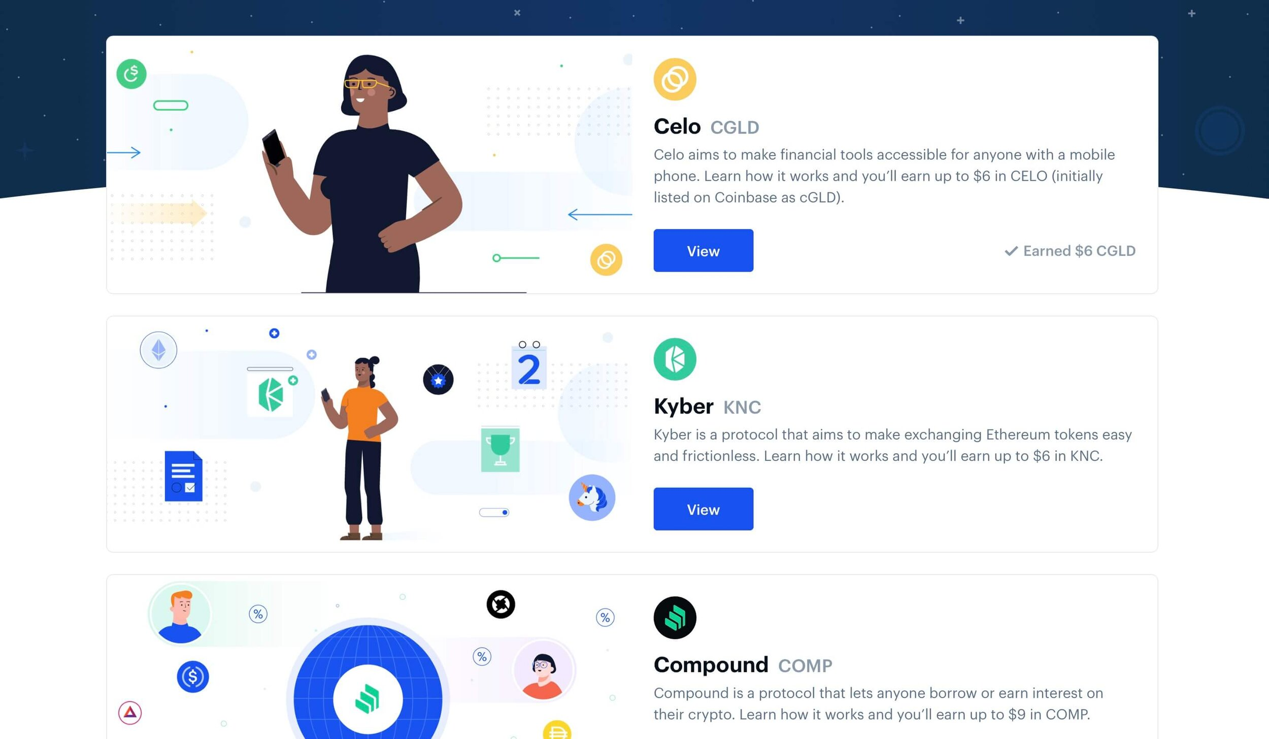 CoinBase Earn Page
