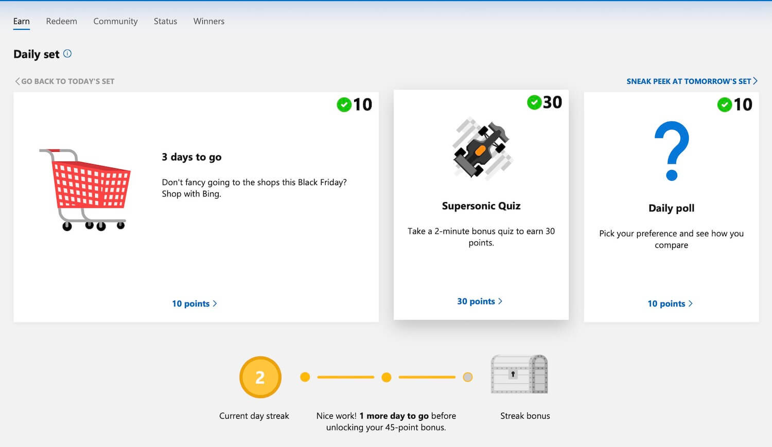 Microsoft Rewards Earn Points Through The Account Page