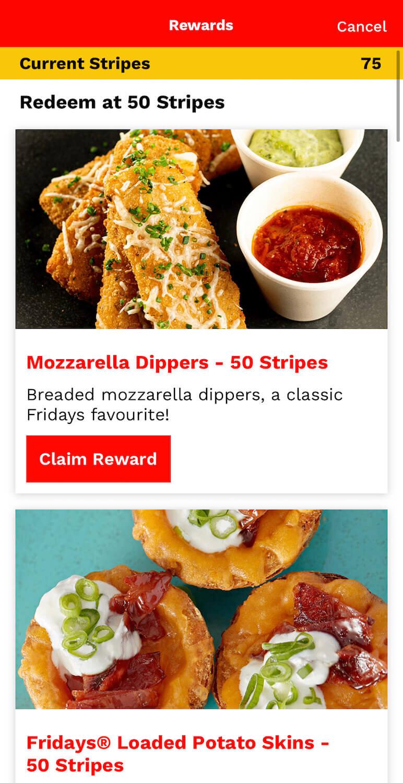 TGI Fridays Stripes App Reward Redemptions How To Redeem Points