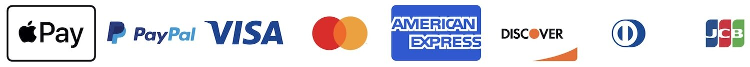 Accepted Payment Methods - Apple Pay, PayPal, VISA, Mastercard, Amex, Discover, Diners Club, JCB