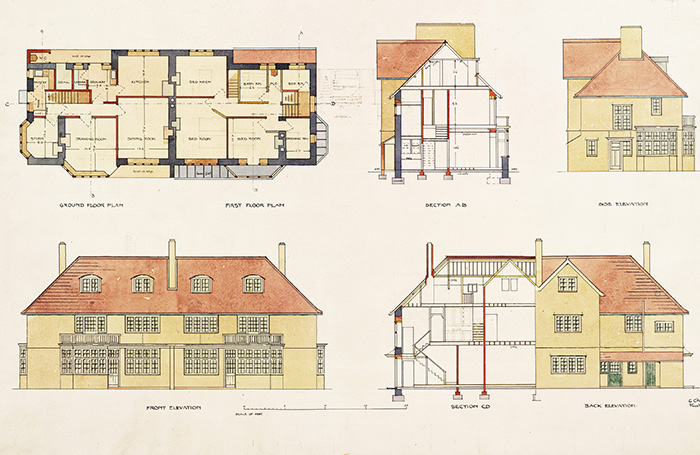 Design drawing for semi-detached houses, Falmouth, Cornwall, England, 1906; image from RIBApix (number RIBA31416) RIBA Collections