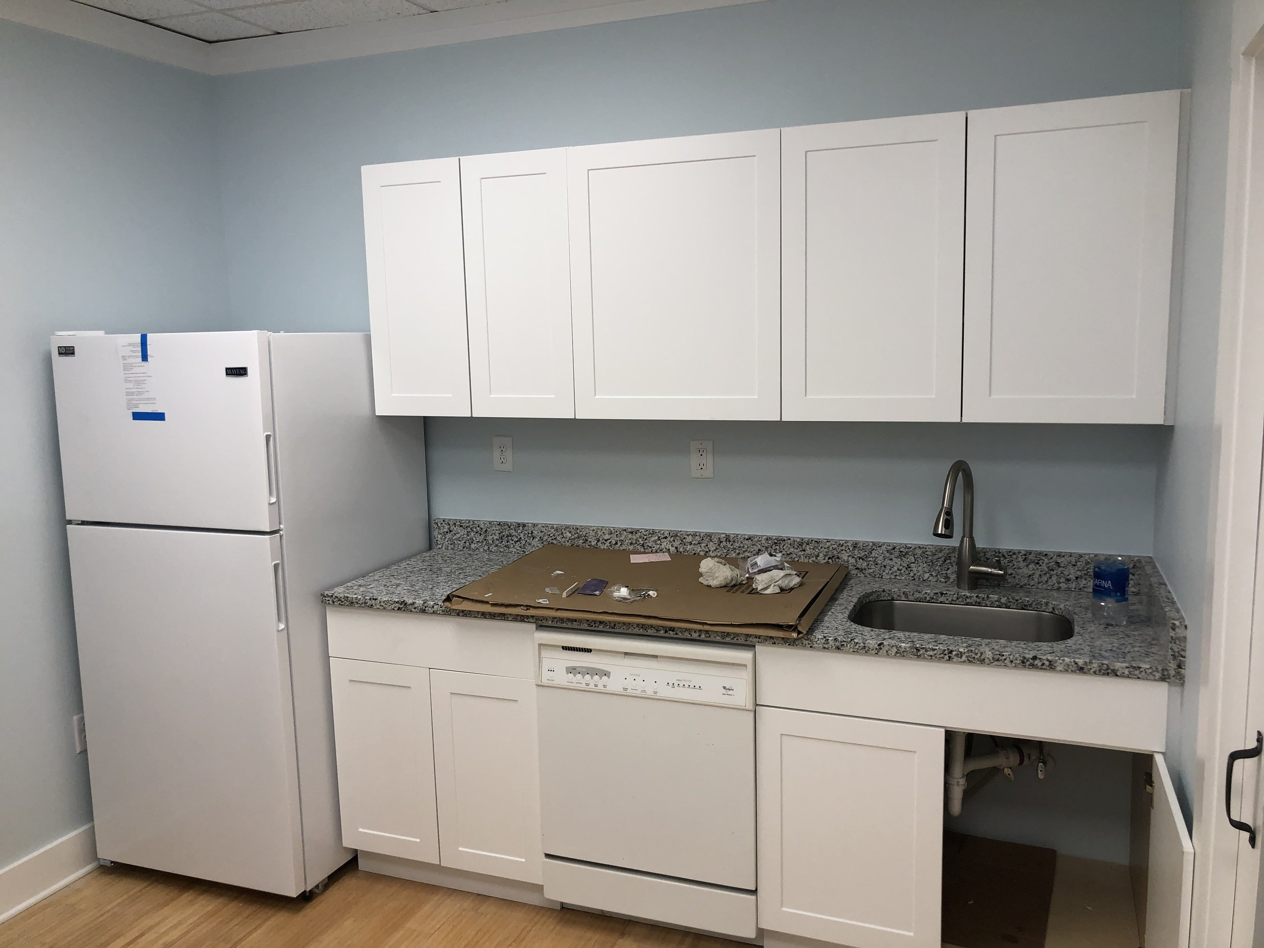 Kitchen area getting close to completion.