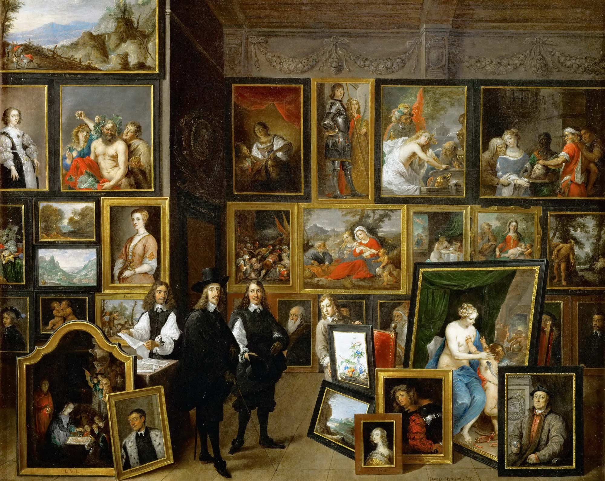 David Teniers le Jeune  L'Archiduc Léopold-Guillaume dans sa galerie à Bruxelles  (Collection particulière aux États-Unis)