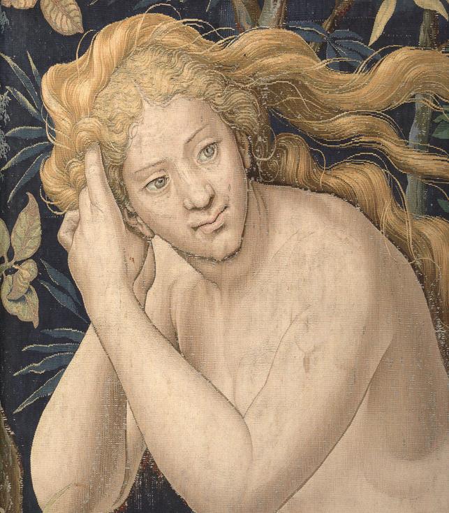 illustration : détail de Dieu accuse Adam et Eve après la Chute sur un carton de Pieter Coecke Van Aelst (Palazzo Pitti Florence)