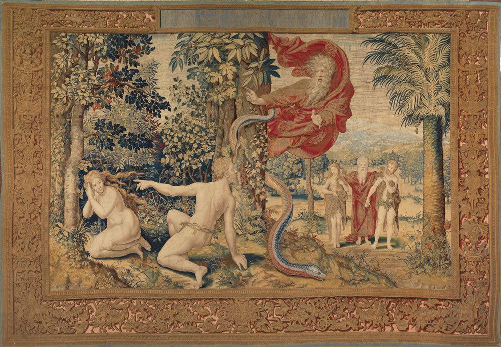 illustration : Dieu accuse Adam et Eve après la Chute sur un carton de Pieter Coecke Van Aelst (Palazzo Pitti Florence)