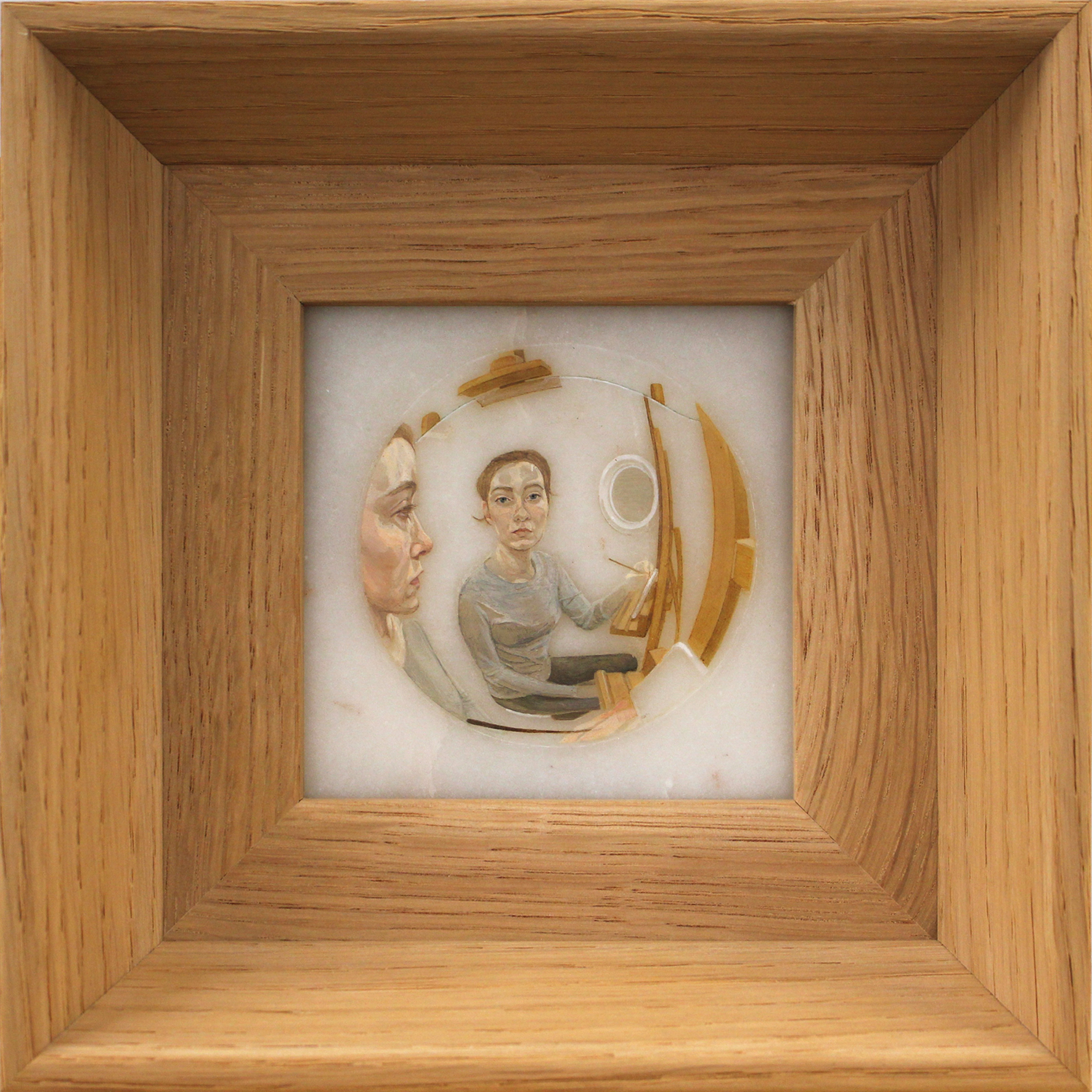 Doppelgänger, (2019) oil on marble, 10 x 10cm (unframed)