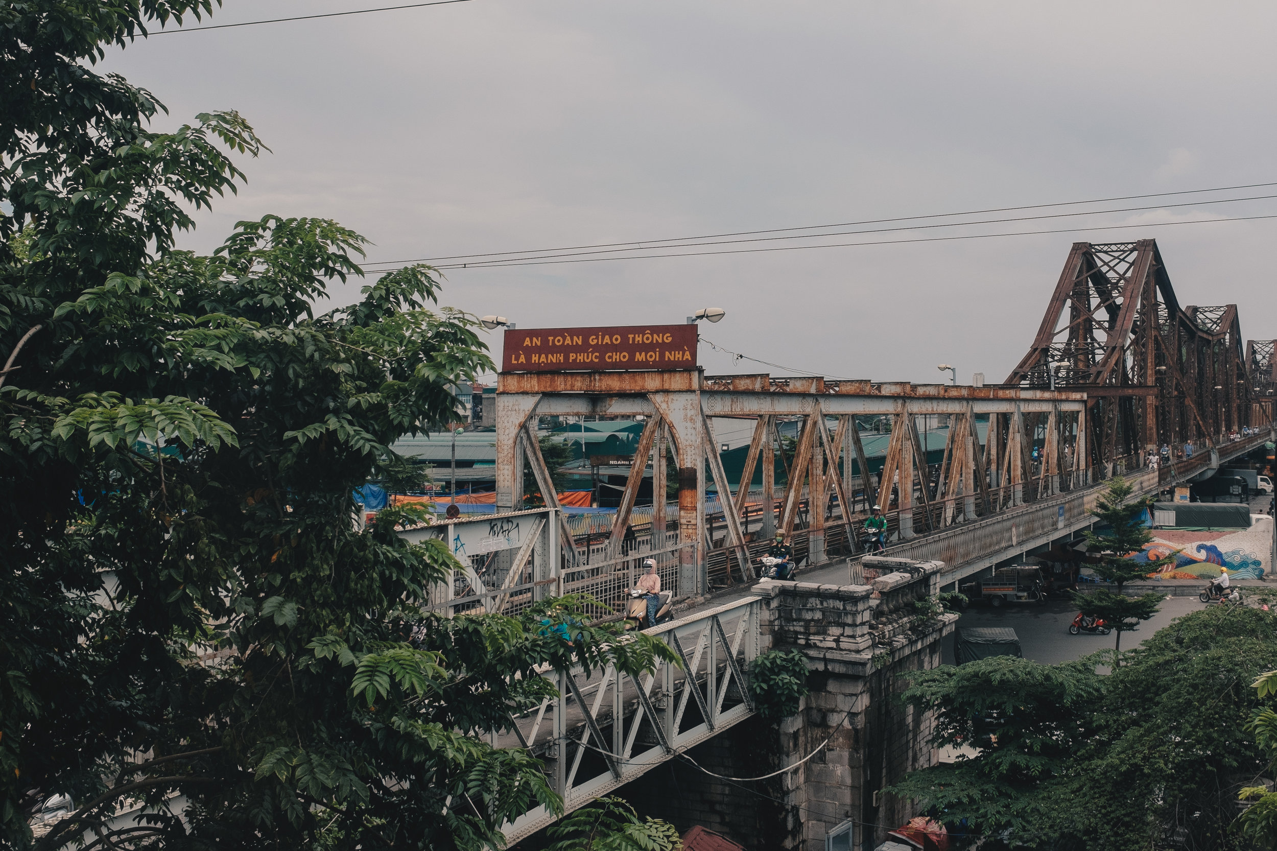 Built in 1903, the Long Bien Bridge still remains critically important to the city both as a transport link and as a cultural icon - its also the view from Serein, a cafe in Hanoi