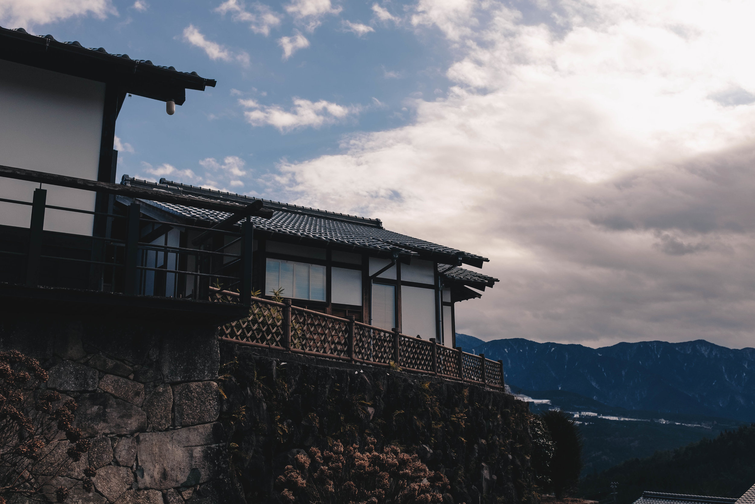 A cliffside observatory that hangs over the hilly village of Magome