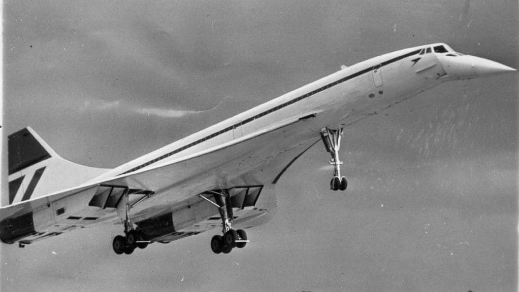 A black and white shot of a Concorde landing in Melbourne's Tullamarine Airport, photo from The Daily Telegraph Australia