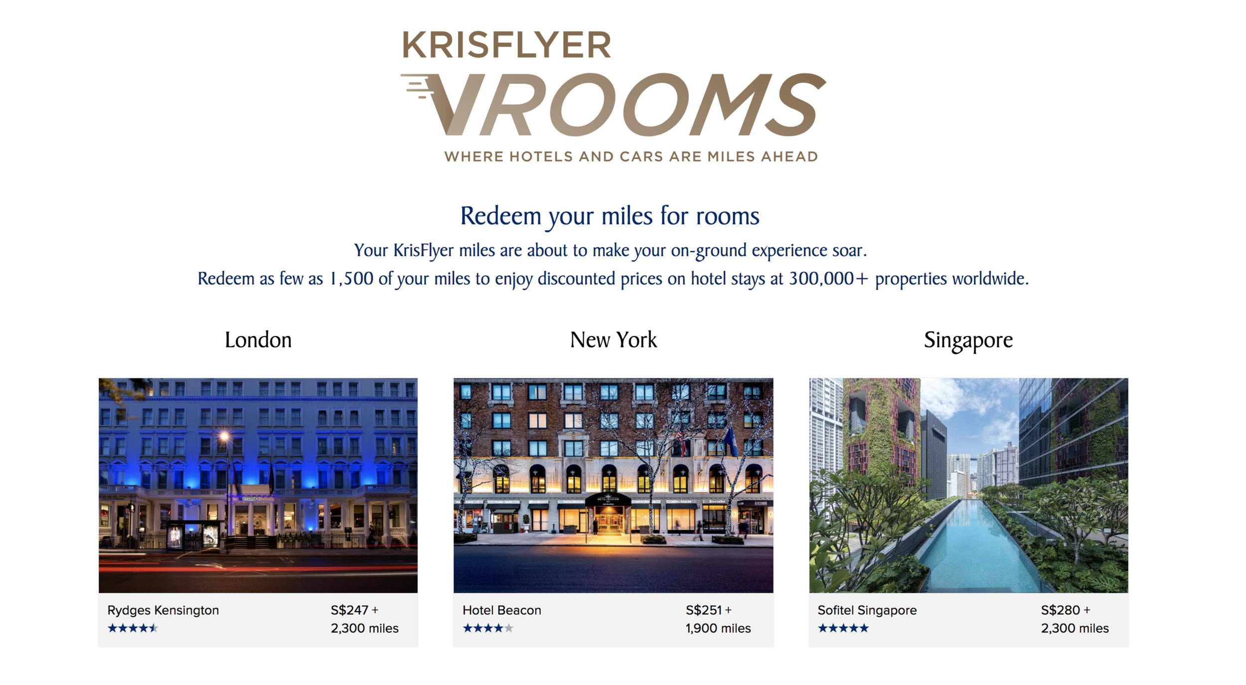 Krisflyer's new initiative allows members to redeem their hard-earned miles for hotel stays and car rentals