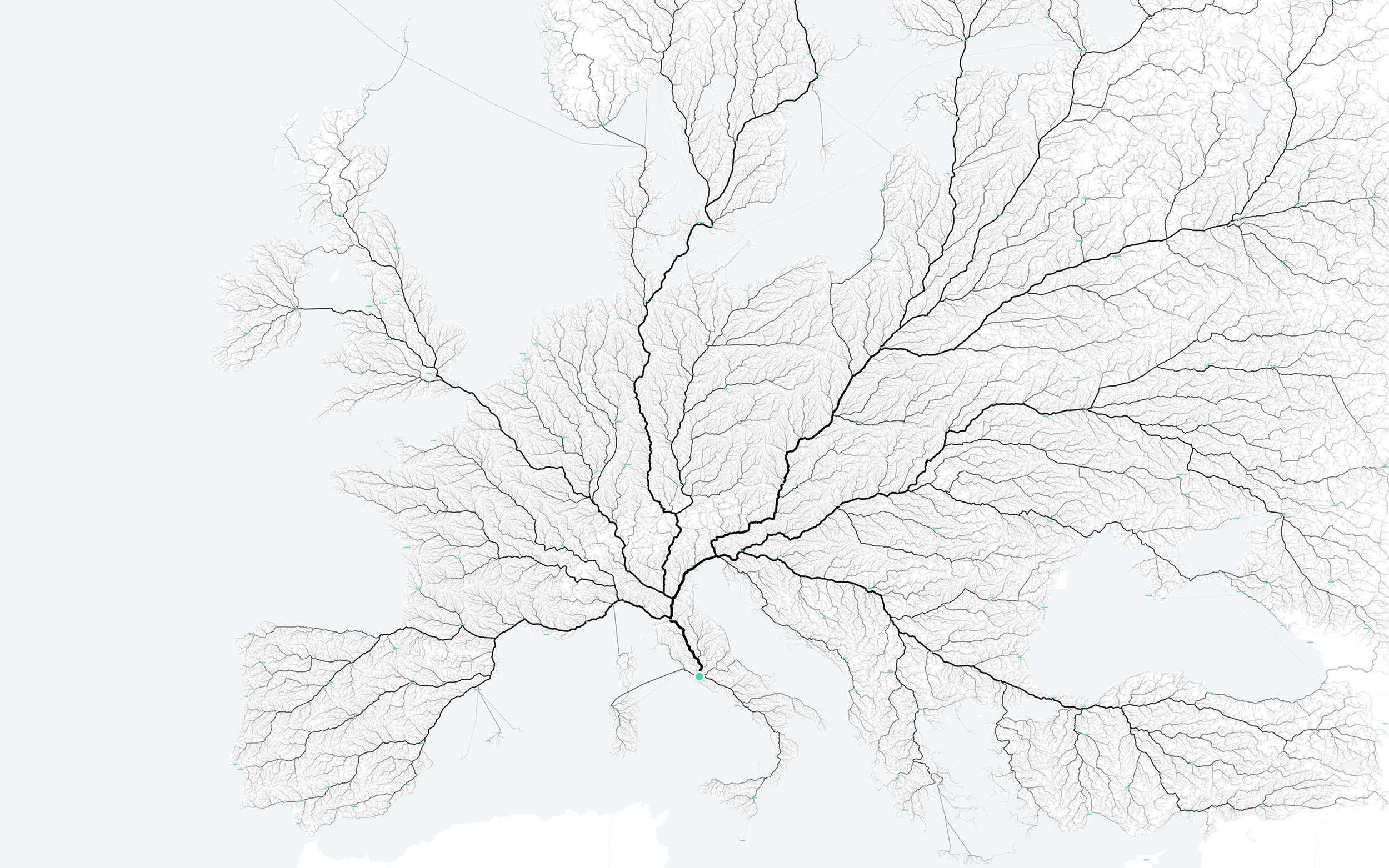 The mockups made by Moovel Lab showing that indeed, all Roads Lead to Rome;  photo from Moovel Lab