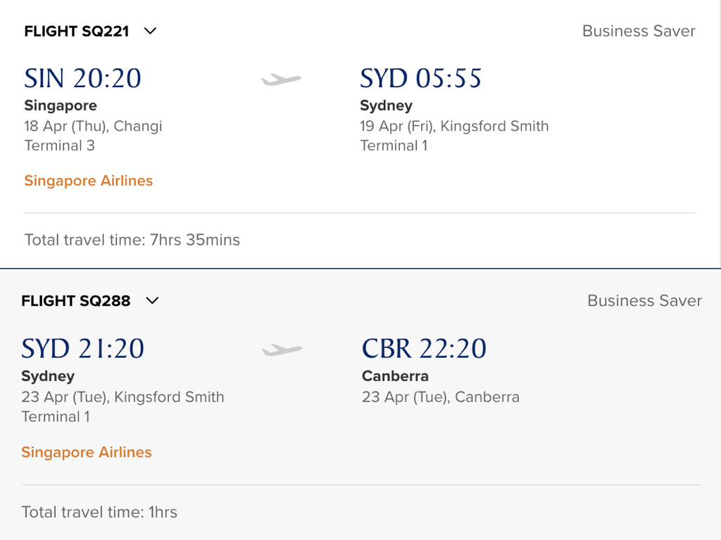 These flights are separated by a stopover in Sydney lasting 5 days