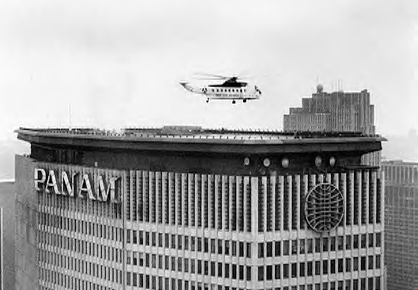 The helicopter service operating from Midtown's Pan Am Buildings represented one of the heights of the airline's operations,  photo from BoweryBoysHistory