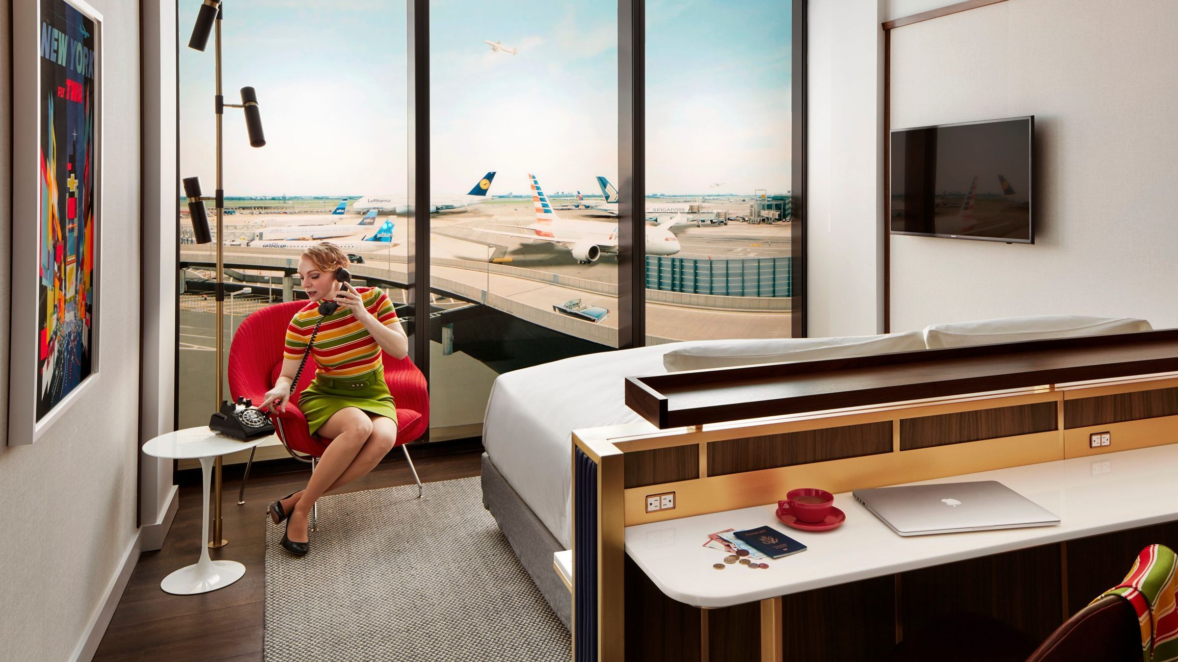 A mockup of a normal room in the upcoming TWA Hotel,  photo from Quartz