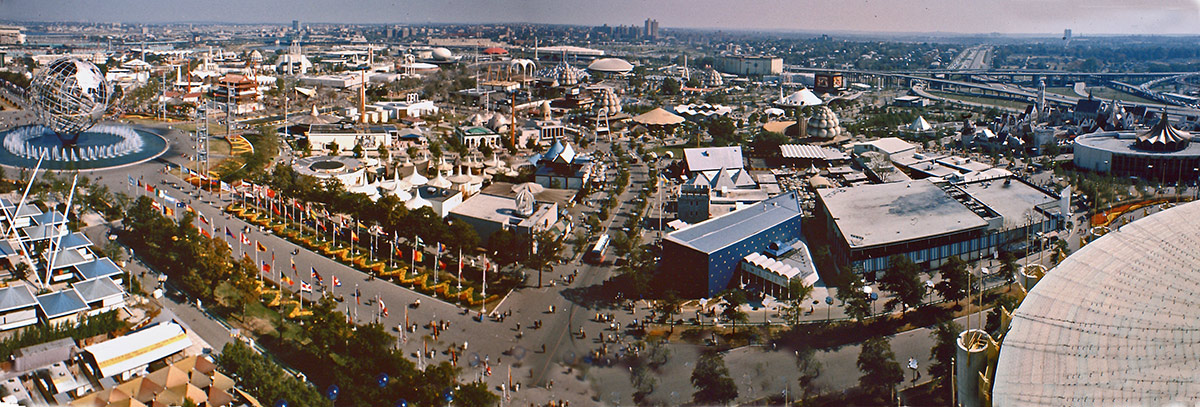 A wide shot of the fair grounds for the New York City World Fair of 1964,  photo from the New York Times