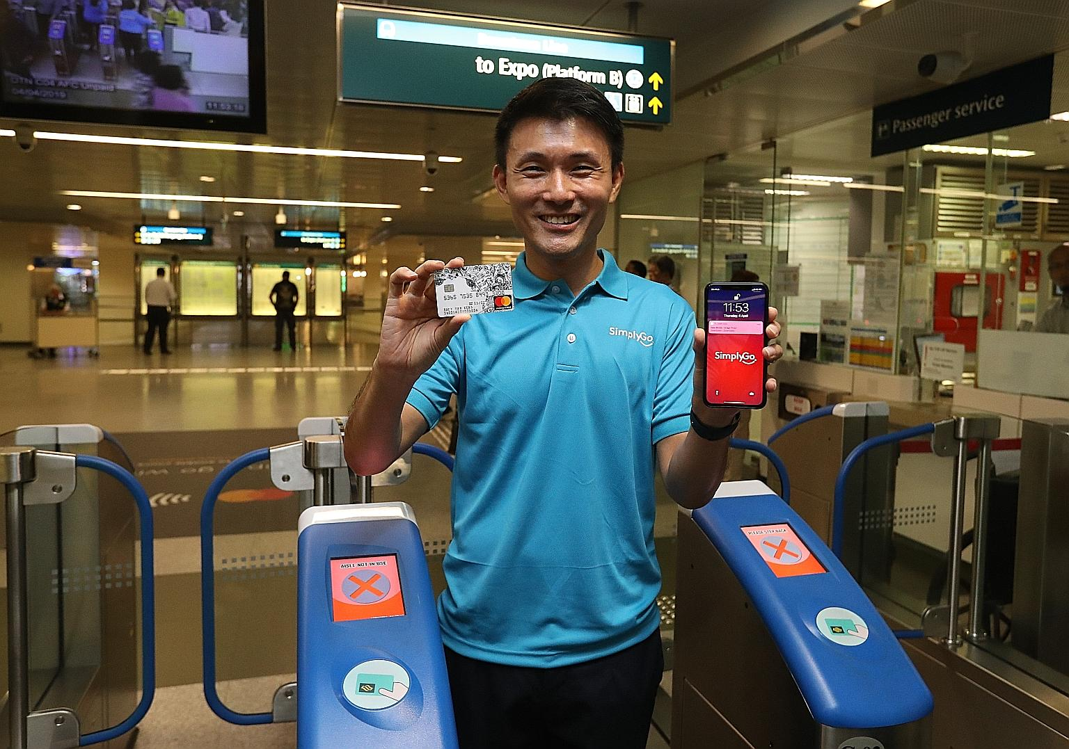 SimplyGo works with a regular card or with a mobile device, photo from  Straits Times