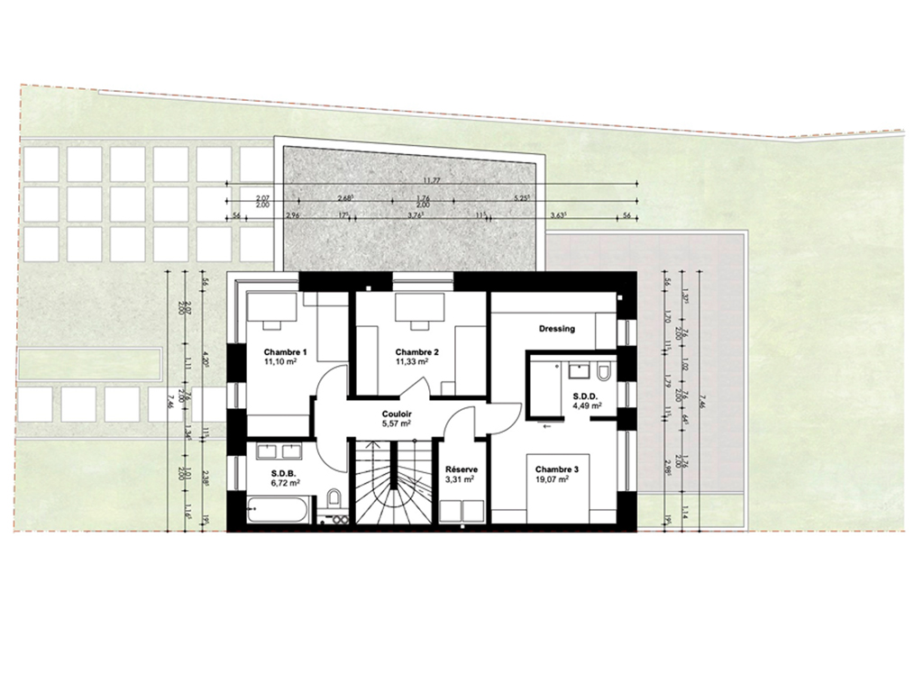 Vue en plan 1ière étage