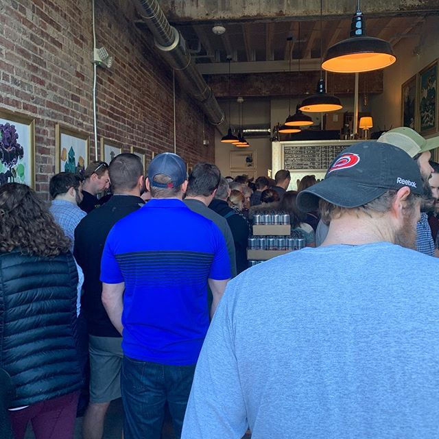 Checking out @burialbeer in Raleigh for their grand opening. Waited in line for 2 hours to pick up some cans but mission accomplished. This place is packed.