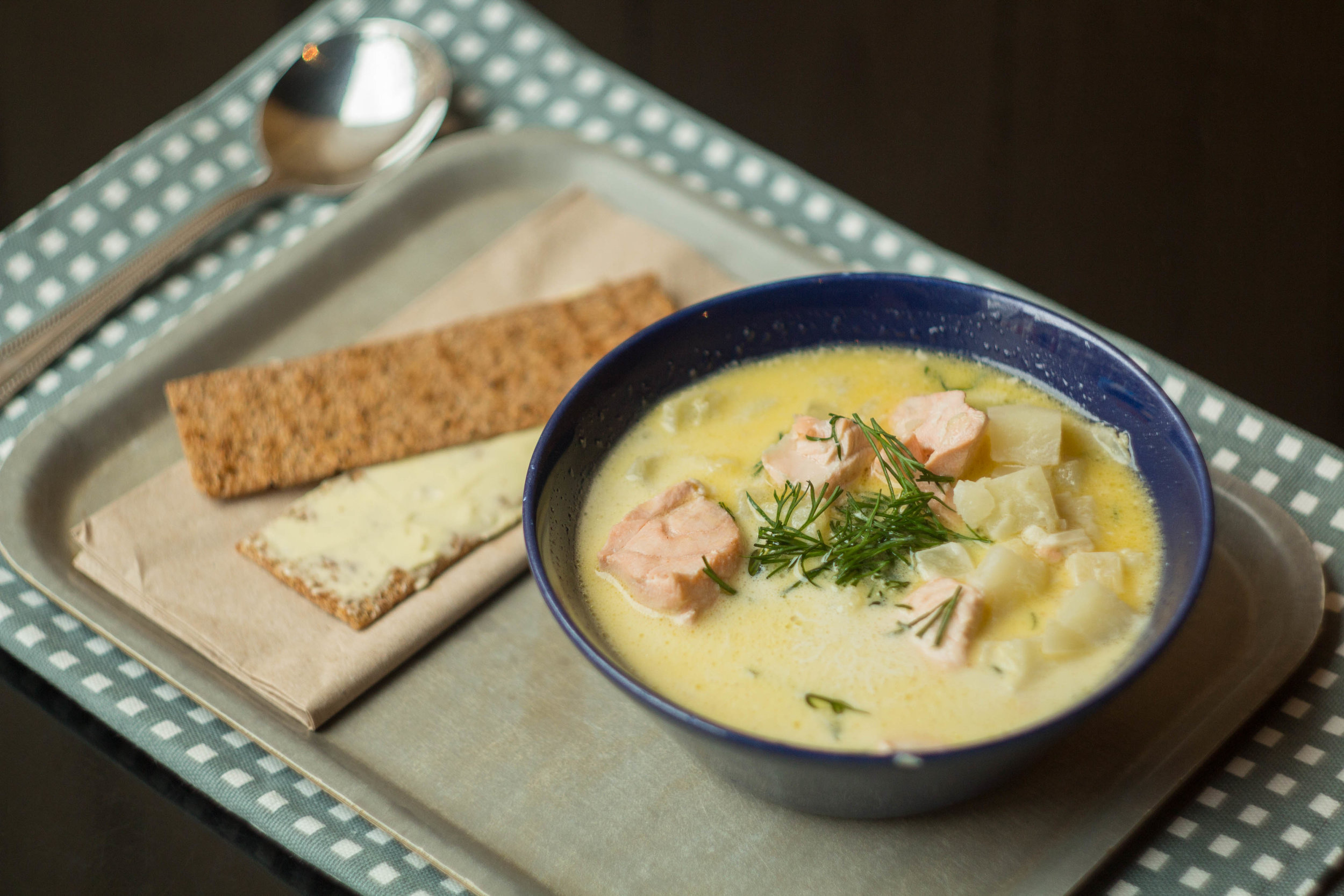 Nordic Bakery: Salmon Soup with Rye Crackers