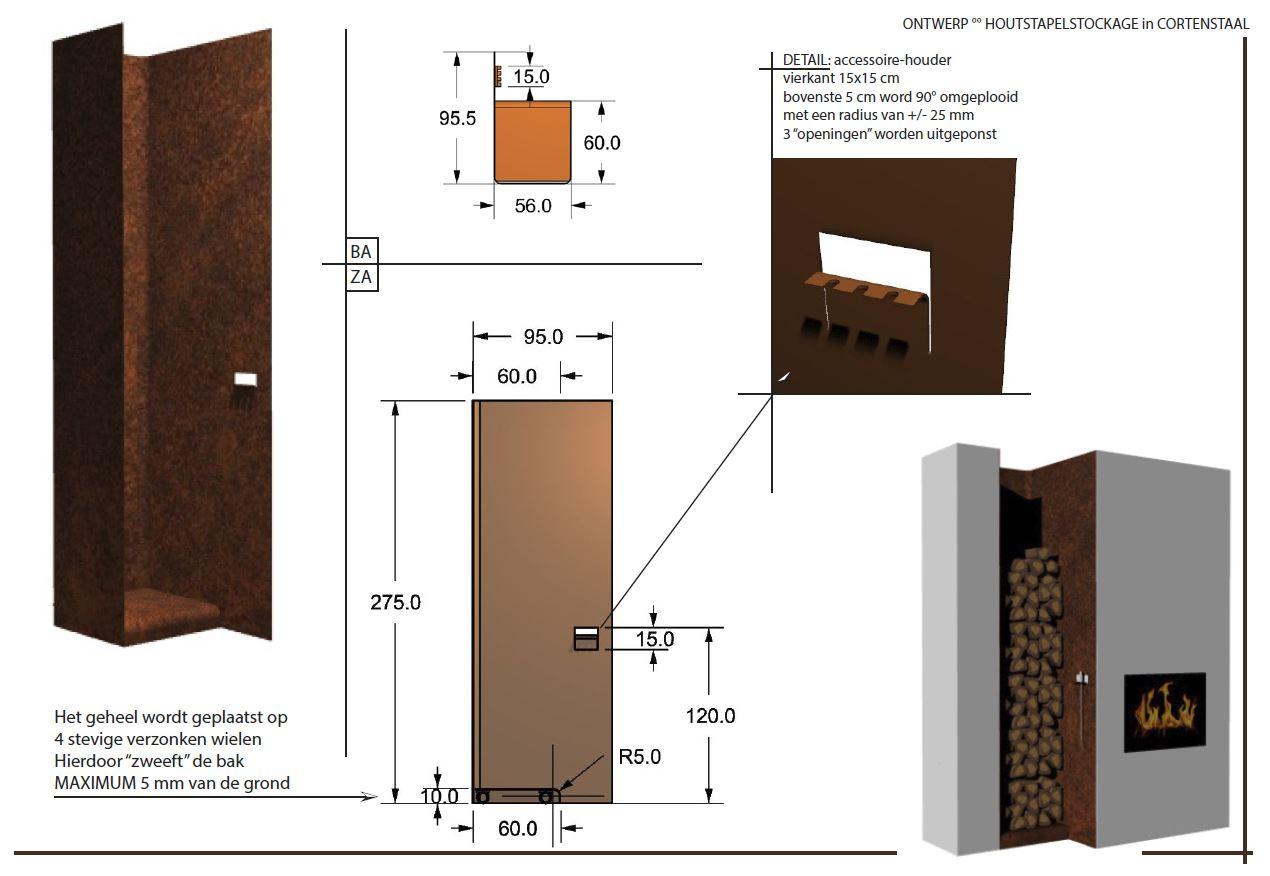 Ontwerp cortenstaal houtopslag-op-maat