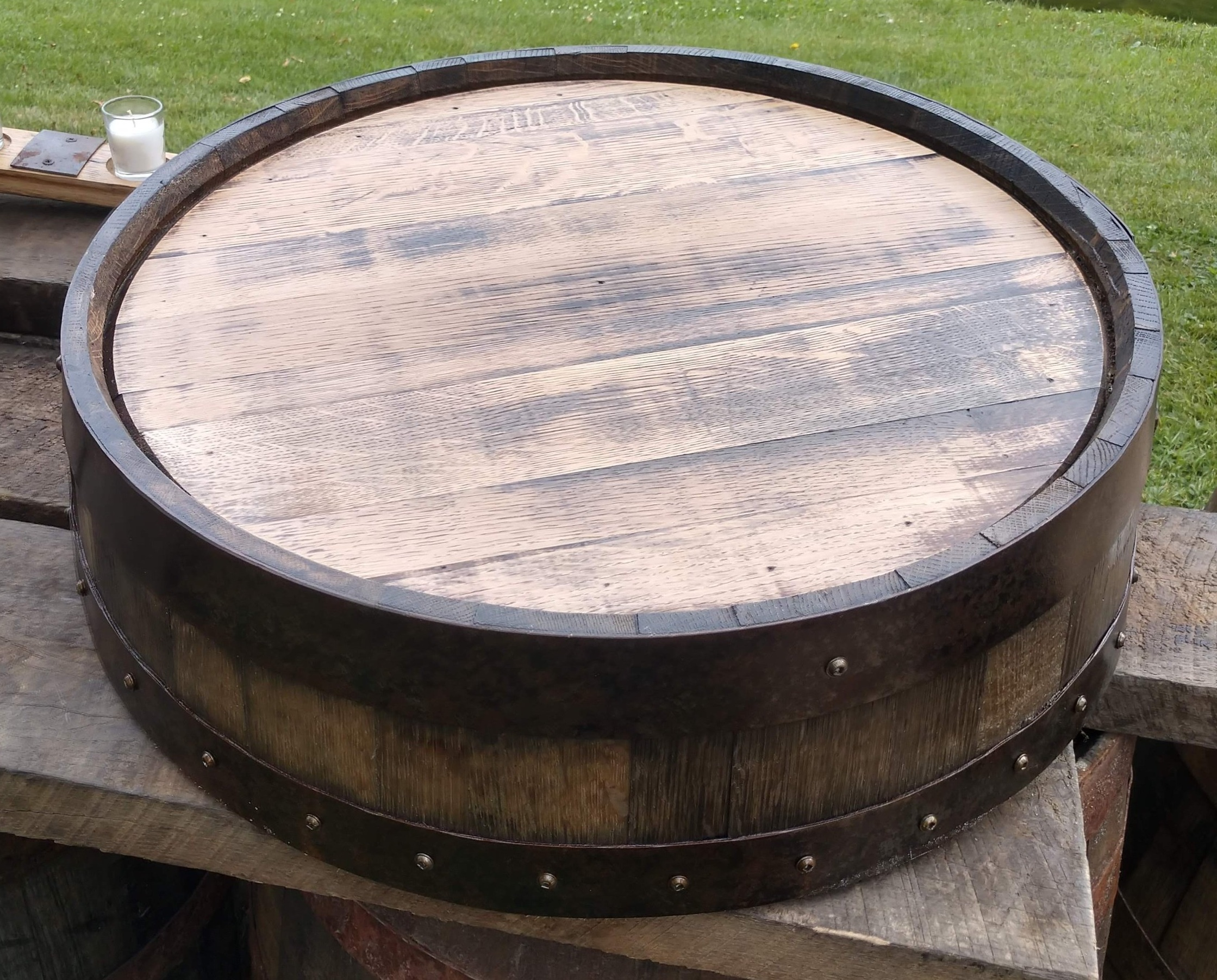 "Large Whiskey Barrel Cake Stand - Keep the theme going with a whiskey barrel cake stand! The stand has an inner diameter of 21"" and stands at about 6"" tall.Rental for this item is $20eaInterested in purchasing this item? Follow this link to purchase instead of rent!"
