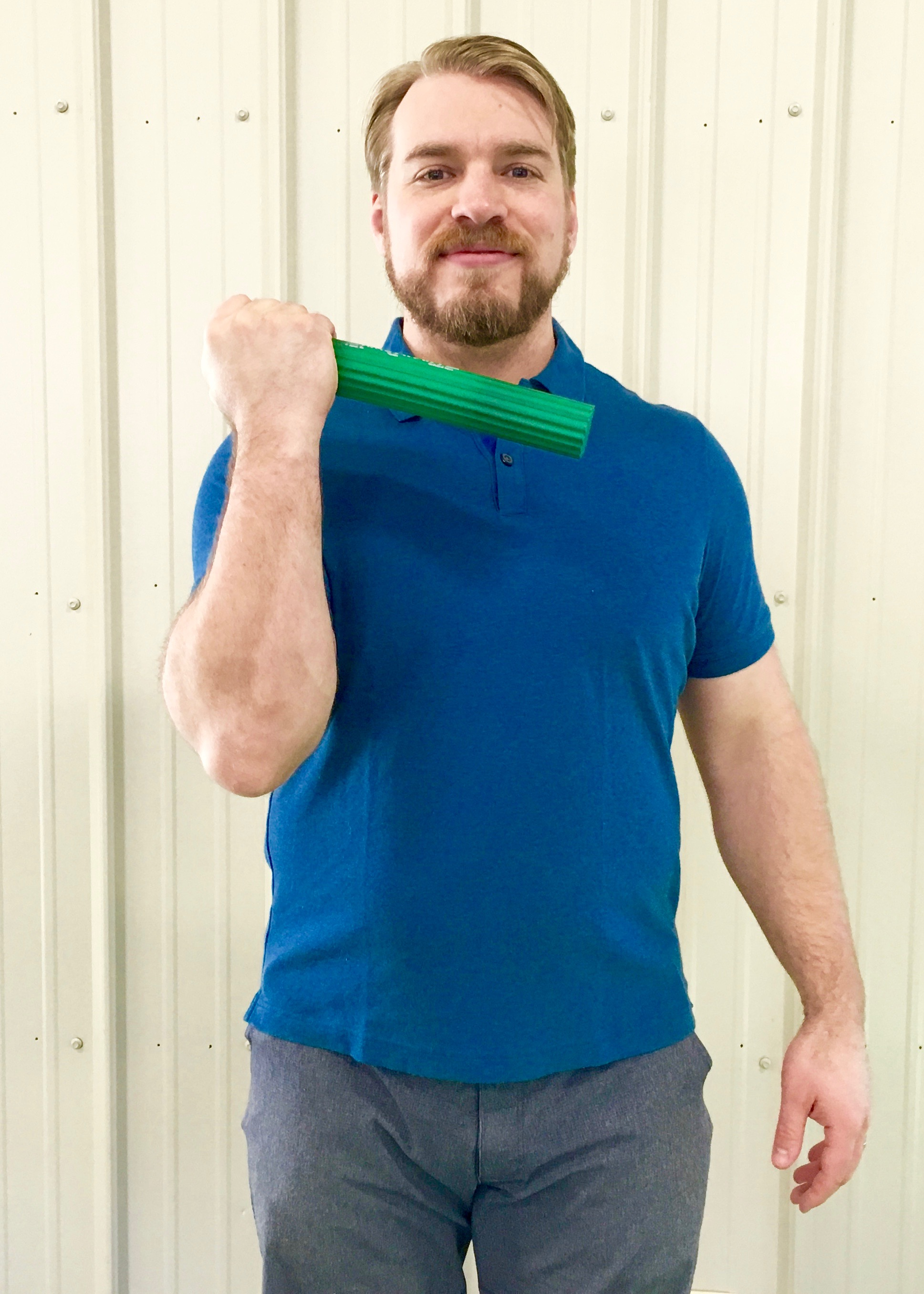 Golfer's Elbow 1 - Hold bar with injured arm.