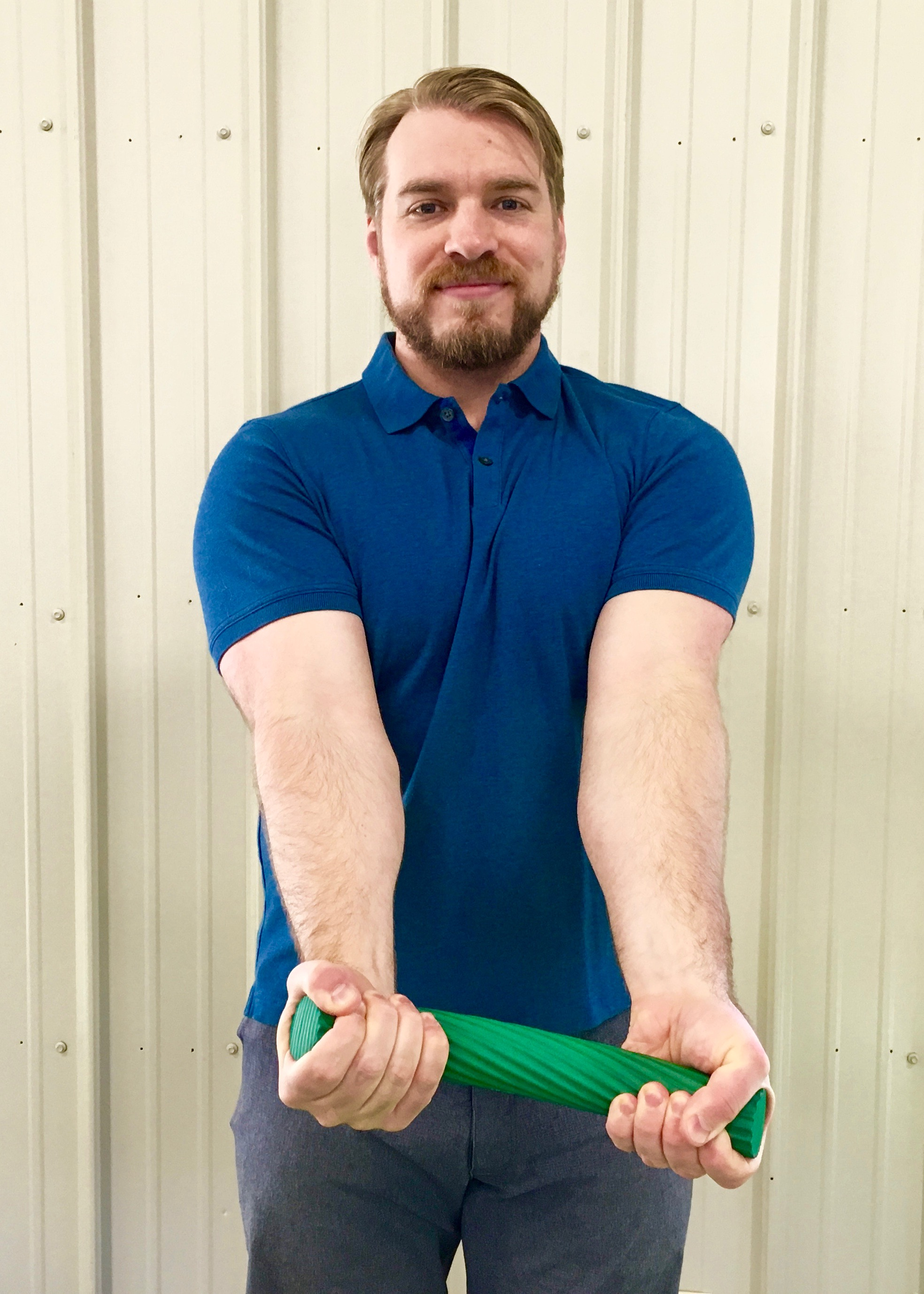 Golfer's Elbow 4 - Straighten both arms while flexing the wrist of the inured arm.