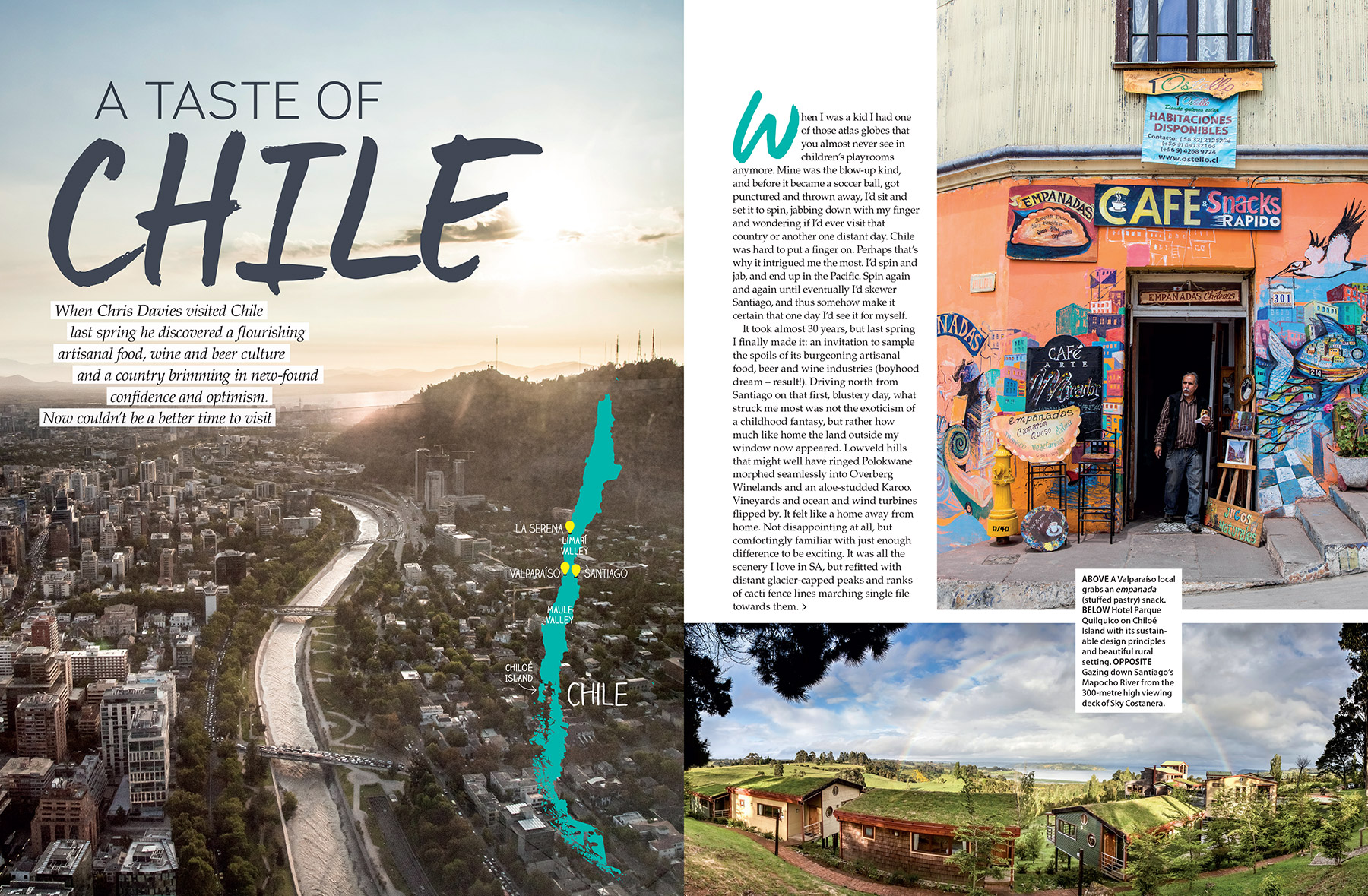 Getaway Magazine - A foodie road trip through Chile, sampling excellent locally-sourced produce and even more excellent wine.