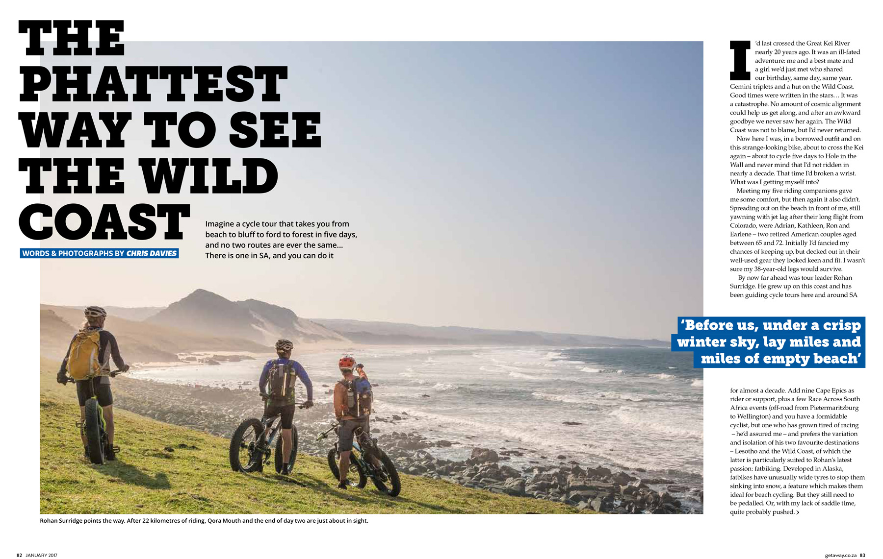 Getaway Magazine - Cycling South Africa's Wild Coast by fat bike with the fantastic team at Detour Trails.