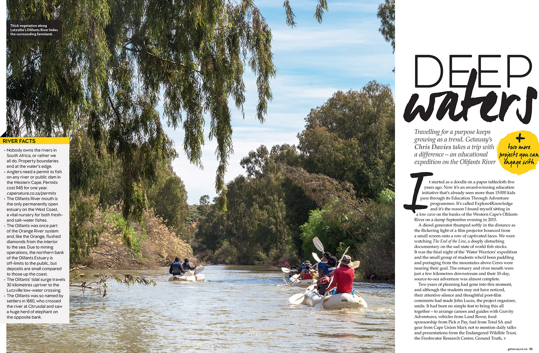 Getaway Magazine - Educational canoeing trip with Explore4Knowledge down the drought-stricken Olifants River in South Africa.