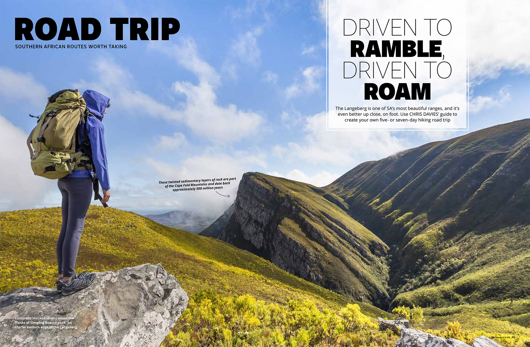 Getaway Magazine - Hiking the Langeberg Mountains watershed, which joins the southwestern Cape to South Africa's beautiful Garden Route.