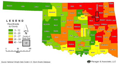Oklahoma Flooding Events by County 1990 to 2010 (Tulsa County outlined in bold) Source: National Climate Data Center U.S. Storm Events Database