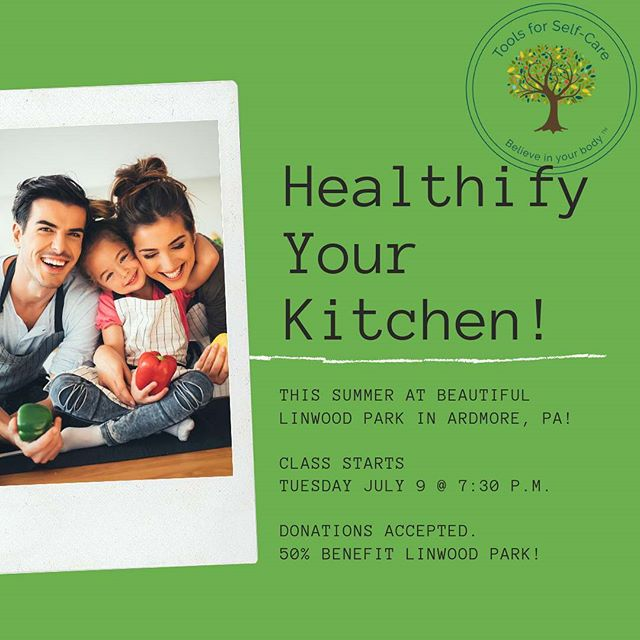 FREE CLASS IN THE PARK starts tomorrow night! Join us! ----- How healthy is your kitchen? One of the keys to healthy eating is stocking your kitchen with healthy foods. But food packaging can be so confusing! Come learn how to decode nutrition labels, then analyze your own kitchen, then head out into the world and discover healthier versions of your favorites! This 3-week class is taking place at beautiful @linwoodparkardmore! ----- DONATIONS ONLY with 50% going to Linwood Park! ----- Tuesdays July 9, 16, & 23 from 7:30 p.m. - 8:15 p.m. ----- Register by clicking [Book] in my profile or navigating to: https://toolsforselfcare.as.me/HealthifyYourKitchen ----- #toolsforselfcare #linwoodpark #friendsoflinwoodpark #ardmorepa #classinthepark #outdoorclassroom