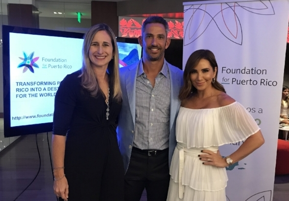Foundation for Puerto Rico President and COO Annie Mayol, Jorge and Laura Posada at the Bacardi headquarters in Miami, Florida.