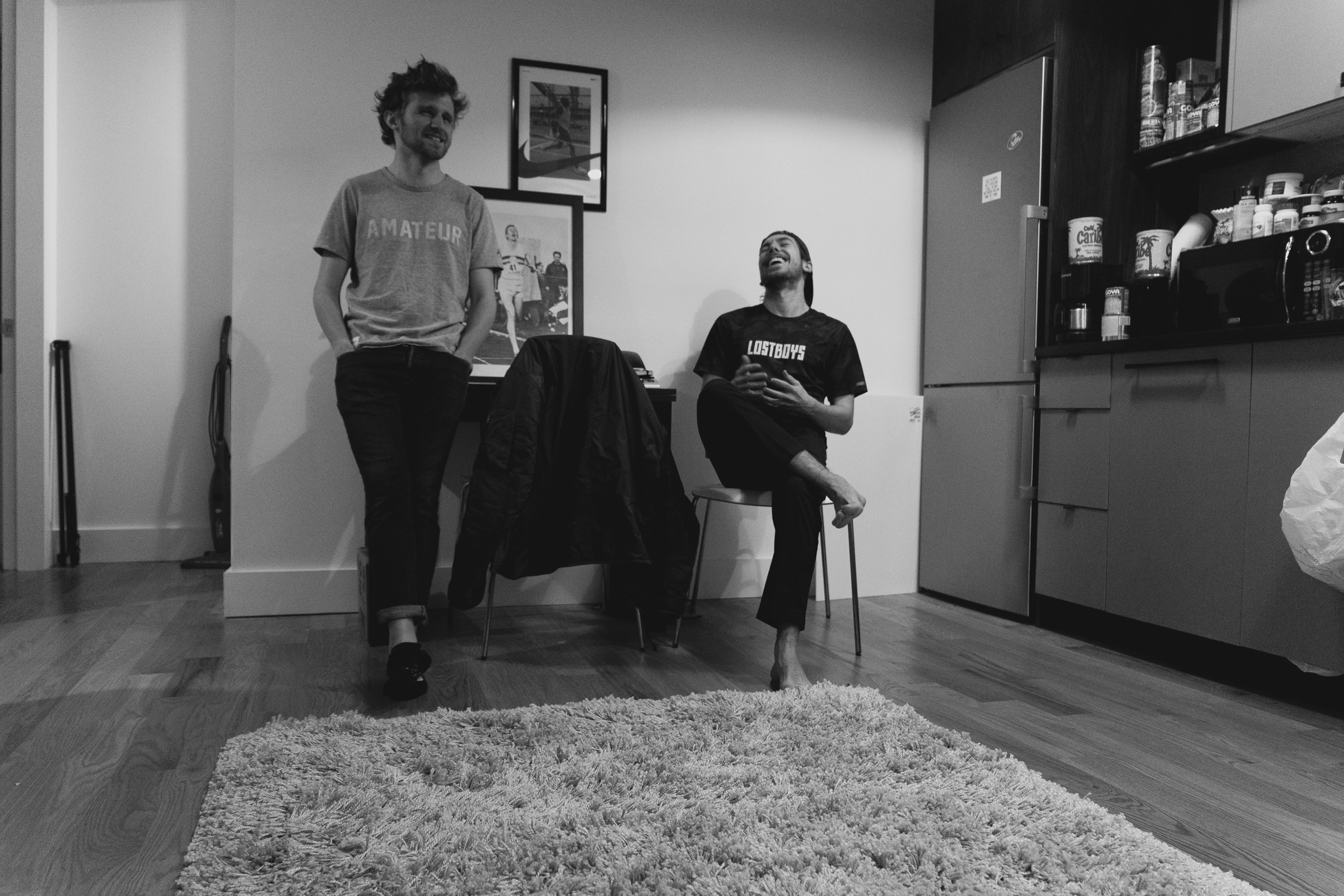 Co-founders  Tim Rossi  and  Jeremy Mulvey  in their apartment in Brooklyn