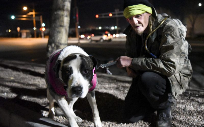 The Hellfighters have been feeding Hillbilly and his dog Nivea for two-and-a-half years. If Hillbilly can't make it out to meet the Hellfighters, they ride their motorcycles down a bike path to the camp where Hillbilly and Nivea stay most nights. Feb. 02, 2019. /Photo by Celia Raney/ NM News Port
