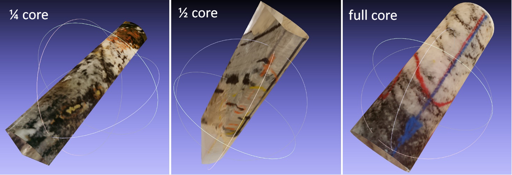 vKore - A 3D scanner and modular, node-based 3D software application for structural analysis and virtual core library acquisition.  It is the first 3D core imaging tool designed to obtain a permanent record of significant structural features observed in core samples - particularly the mineralization-related structures - key factors for Structural Vectoring®.  The resultant 3D virtual core can be digitally stored and electronically transferred off-site to any location worldwide for the processing of lines and planes,including kinematic features associated to faults and folds. Their spatial location, orientation, and characteristics are directly extracted from within the software's 3D viewport. The structural information can be live-linked to the Ore.node's stereonet for analysis and visualization. This allows for the structural information to be validated and audited by experts or prospective investors, even after the core has been cut, split and pulverized for chemical analysis. In addition, the Ore.node-vKore™ scanner (Reader) is light-weight, rugged and portable, and it can be run from car batteries if the exploration project is located in remote areas.