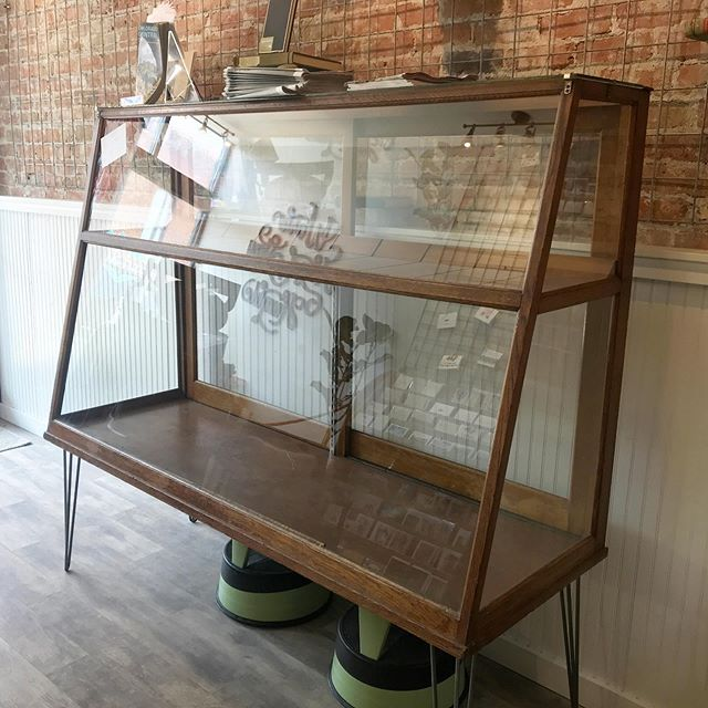 It will come as a surprise to no one that we had to downsize our store fixtures when we downsized the store. I tried really hard to put this beautiful oak case to work, but just can't come up with a use for it in the new store. Anyone interested in it? Asking $375 obo. // TLDR; antique case for sale. $375 obo. // #antiqueforsale