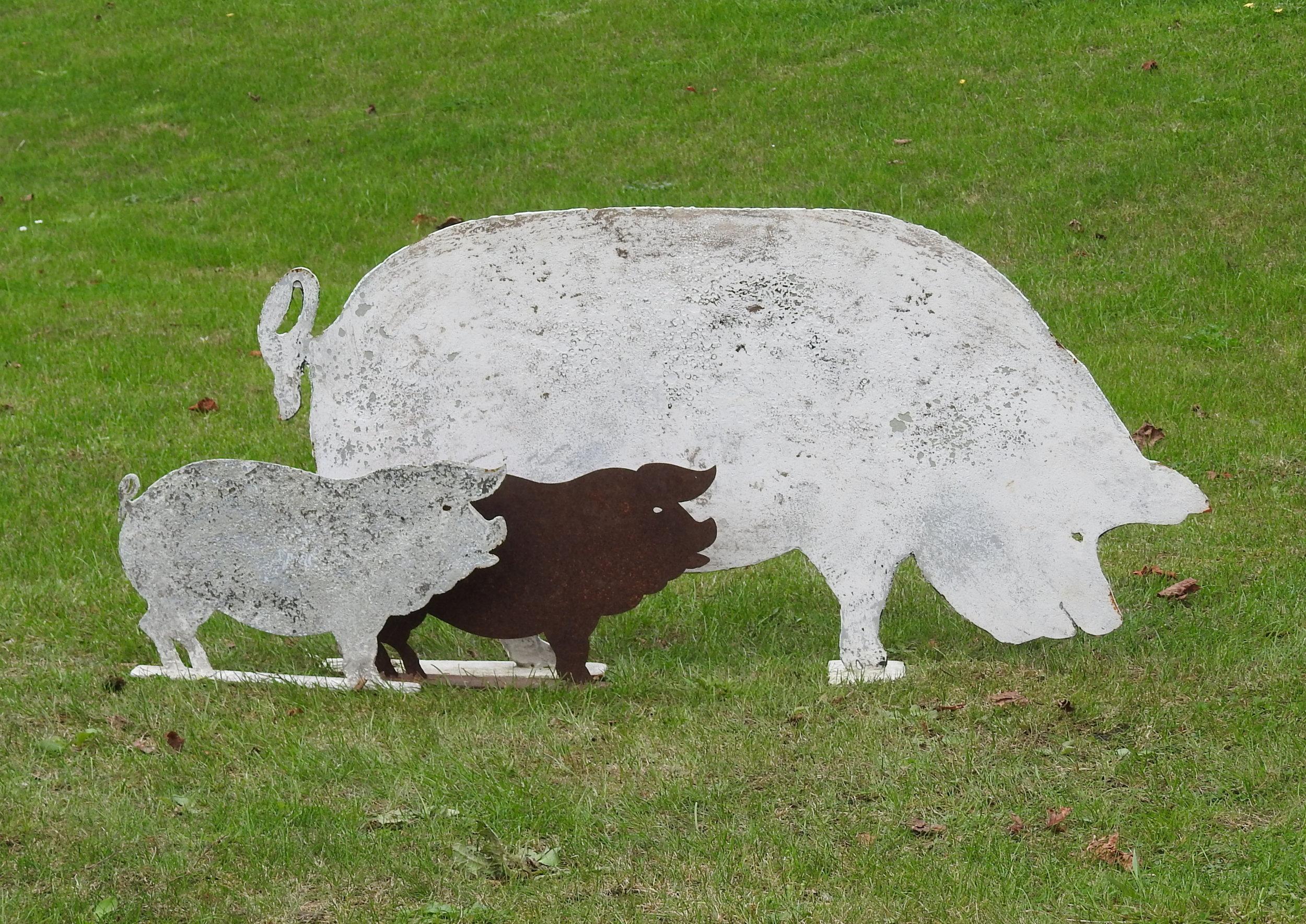 Pig with her piglets -£195 & £65 - Pig: 48 x 99cmPiglet: 25 x 40cm