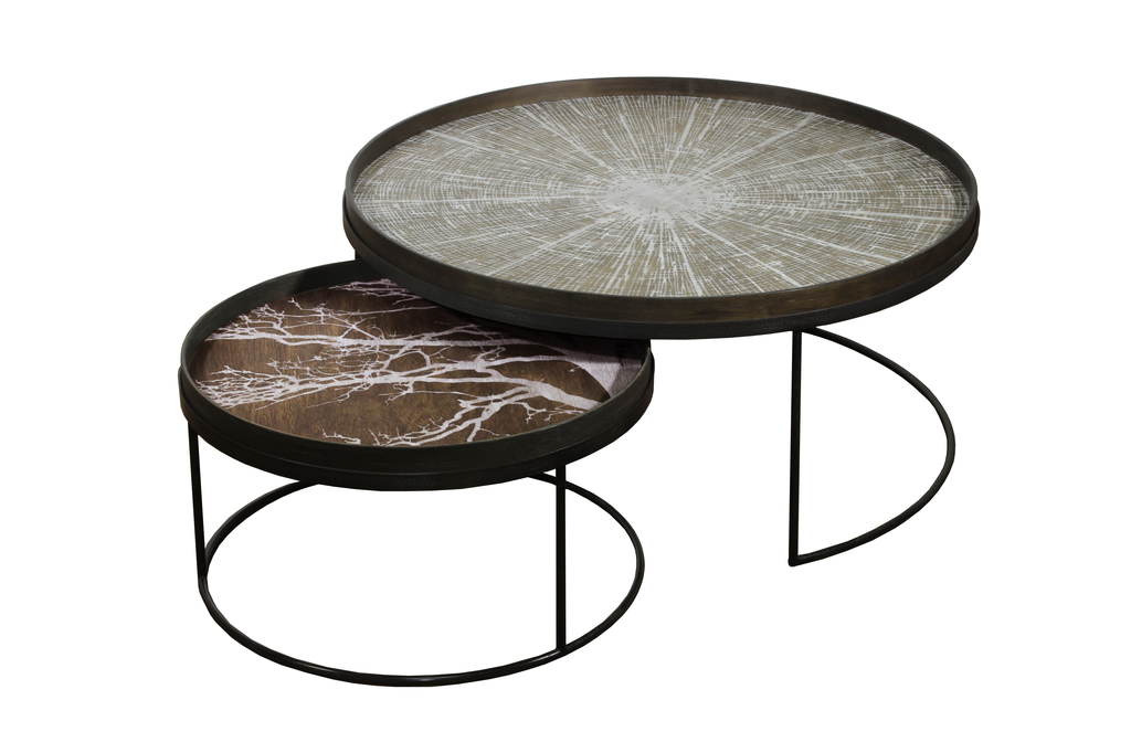 XL & large Low round tables - £499Trays not included - XL - 93 x H: 38cmLarge - 62 x H: 31cm