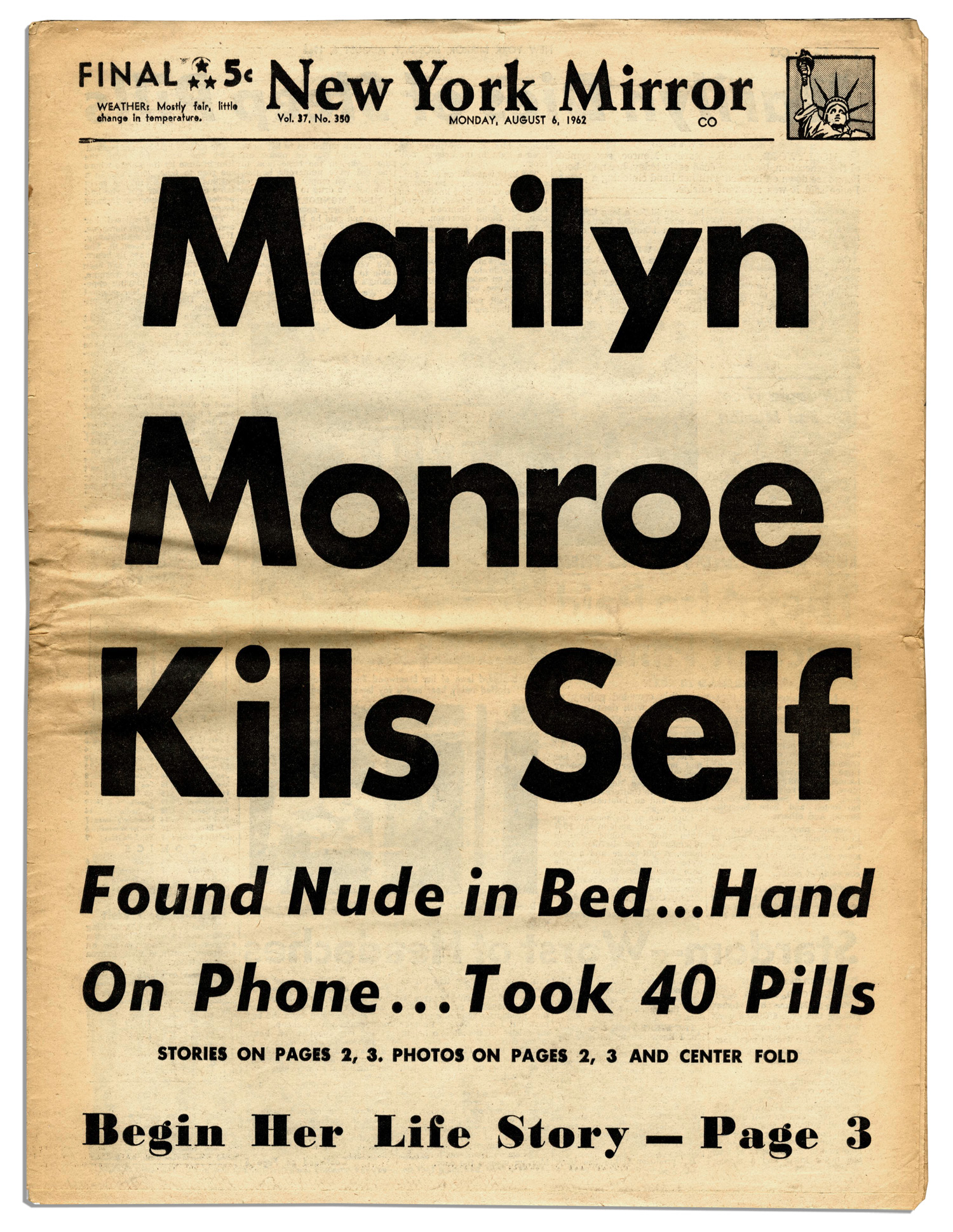 New York Daily Mirror  front page article, August 6, 1962